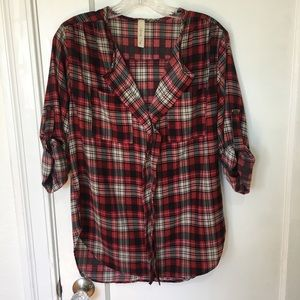Lovely Day chiffon plaid top